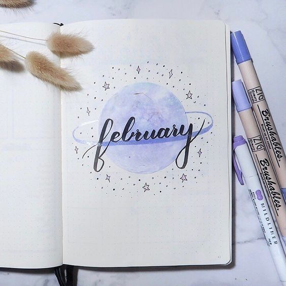 Bullet Journal Hello February / Bujo monthly header #bulletjournal #bujoinspire