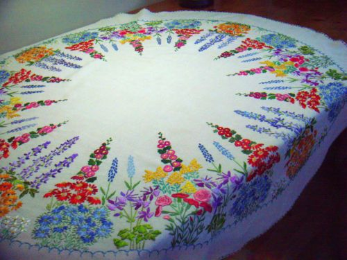 Linen hemstitch dot embroidery tablecloths