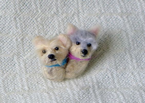 LABOR DAY SALE Your 2 dogs as a cute Pin / Custom by GourmetFelted