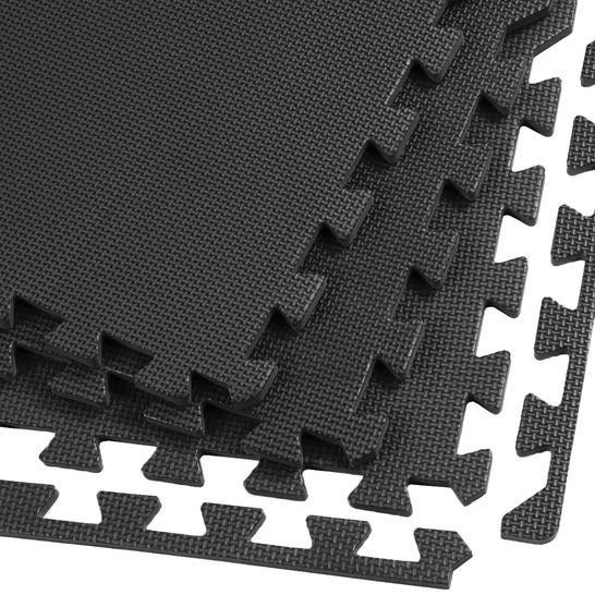 Clevr Clevr 96 Sq Ft Eva Foam Floor Mat Black Interlocking Exercise Mat Workout Gym Flooring Cushion 1 Year Limited Warranty Foam Mat Flooring Foam Flooring