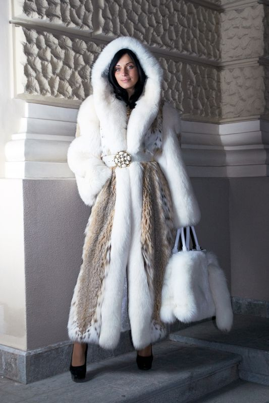 hooded white mink & lynx fur coat | Fall / Winter Coats Jackets