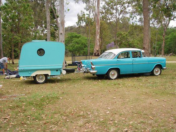 1956 folding Propert with a 60s EK Holden.  Vintage Caravan