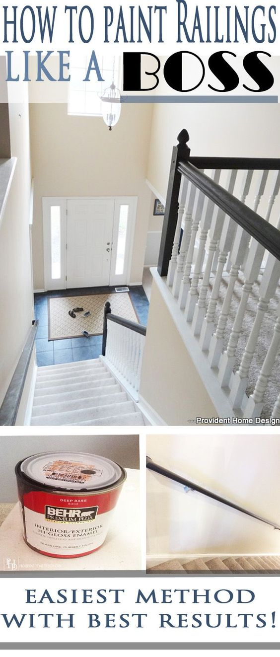 How To Paint Stair Railings | Painted Stair Railings, Paint Stairs And Easy