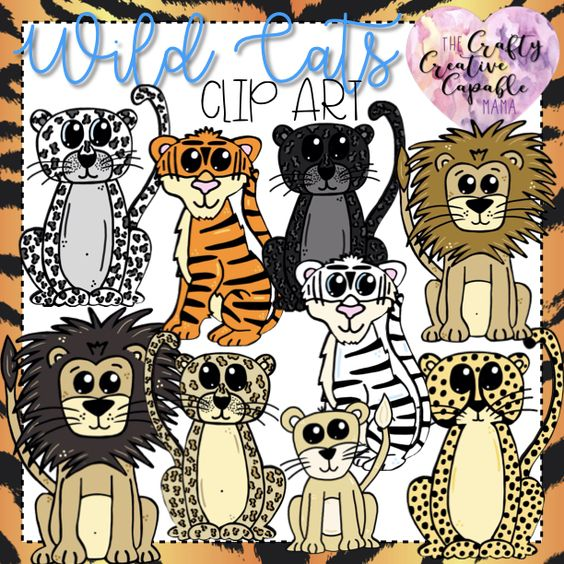 Wild Cat Clip Art In 2020 Clip Art Wild Cats Art