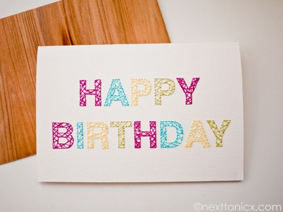 DIYembroidered birthday card Craft  DIY Pinterest