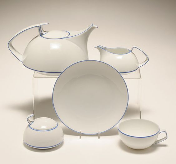 walter gropius for rosenthal porcelain tea set fourteen pieces to include six cups five plates. Black Bedroom Furniture Sets. Home Design Ideas
