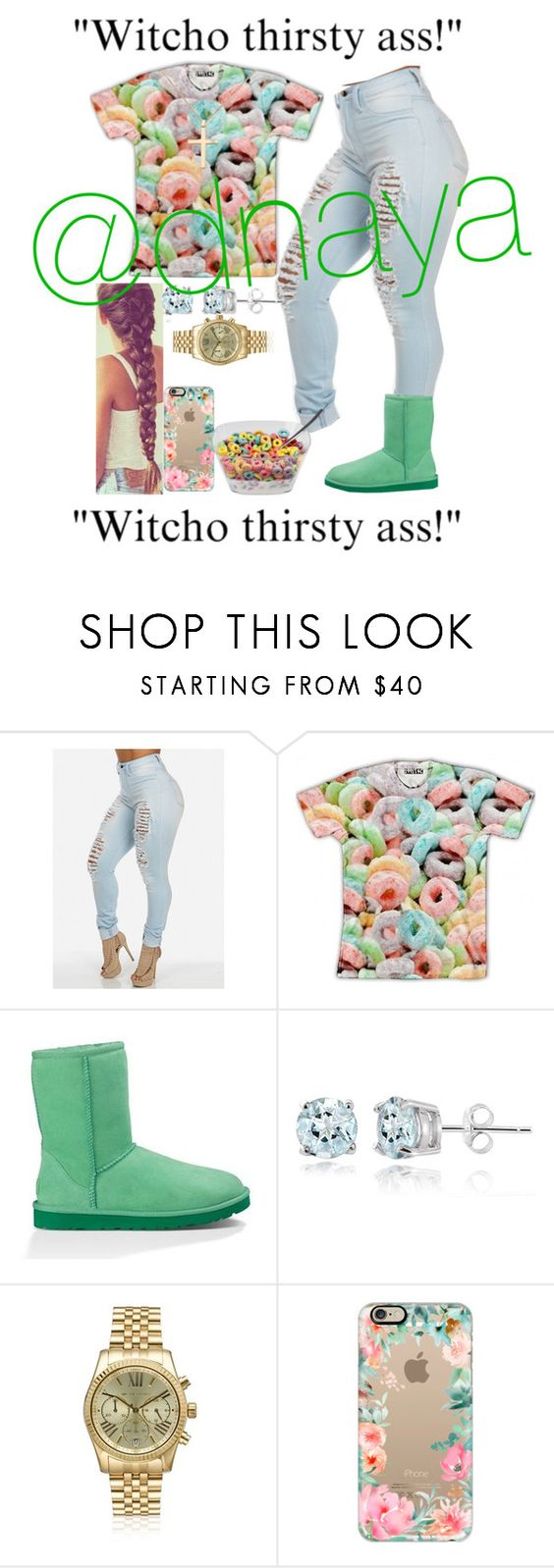 """""""Fruit Loops❤️❤️"""" by dnaya ❤ liked on Polyvore featuring UGG Australia, Glitzy Rocks, Michael Kors, Casetify and Anastazio"""