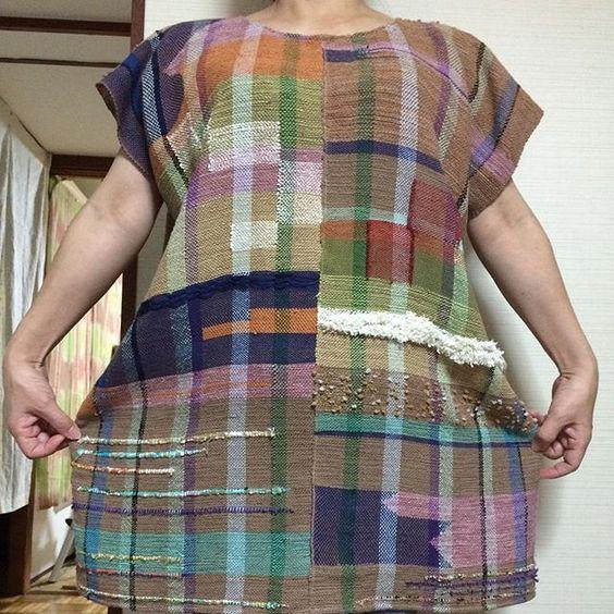 この前の着画で〜す✌️ ゆったりしてますよ〜 #チュニック #さをり織り #仕立て #saori #saoriweaving