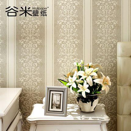 穀米蠶絲壁紙現代簡約歐式無紡布牆紙3d立體條紋皮革臥室客廳牆紙