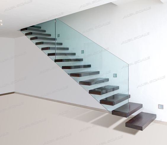 Design Ideas Dark Brown Steps Plus Transparent Glass Railing Beautify Futuristic Floating