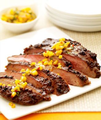 Flame-licked chili flank steak
