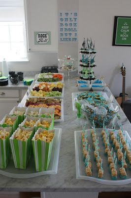 Rock n Roll Themed First Birthday Party food table. More ...