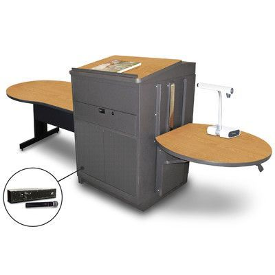 Marvel Office Furniture Vizion Keyhole Table with Media Center and Lectern Finish: