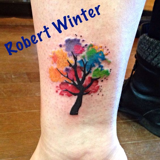 Watercolor Tree Tattoo done by Robert Winter