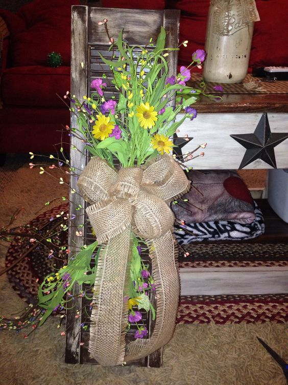 Primitive homemade spring shutter created by Brittany Parks :)