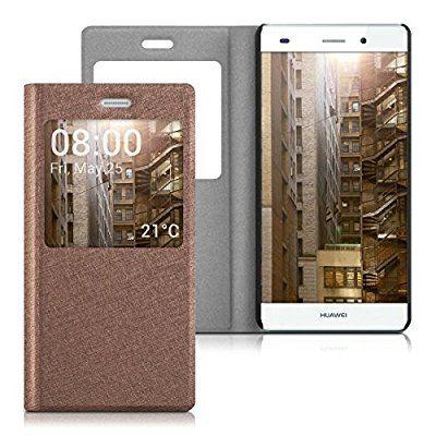 kwmobile Flip Case Hülle für Huawei P8 Lite mit Sichtfenster - Aufklappbare Kunstleder Schutzhülle im Flip Cover Style in Altrosa
