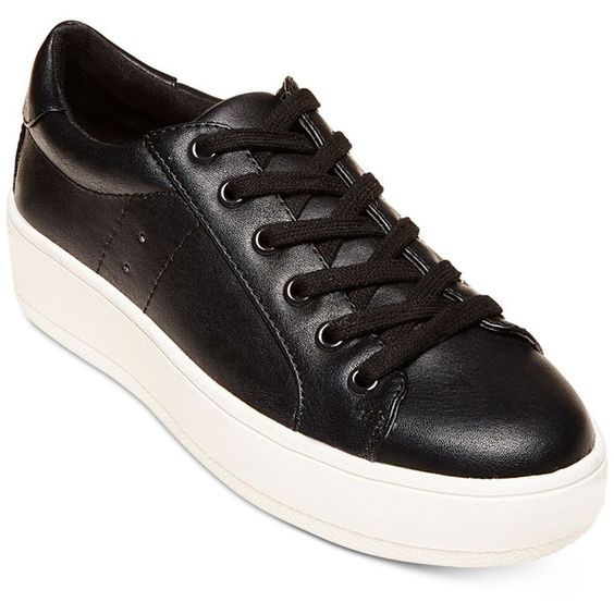 Steve Madden Women's Bertie Lace-Up Sneakers ($69) ❤ liked on Polyvore featuring shoes, sneakers, black, laced shoes, black sneakers, platform shoes, kohl shoes and lacing sneakers