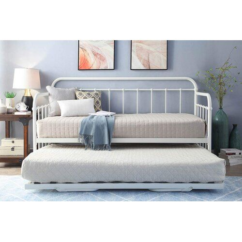 Mitre Hospital Style Metal Daybed With Trundle And Mattress
