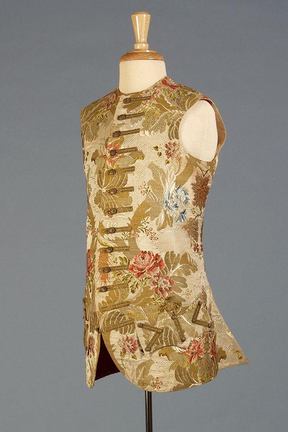 Man's brocaded waistcoat, French, ca. 1760s, KSUM 1995.17.184.