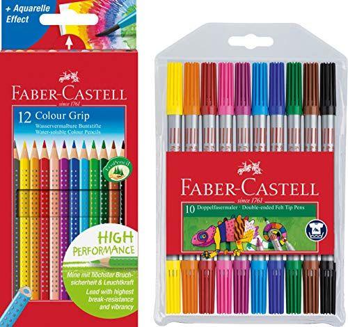 Faber Castell Buntstifte Colour Grip 12er Kartonetui 10er Etui Doppel Fasermaler Mit Breiter Und Feiner Faber Castell Faber Castell Buntstifte Buntstifte