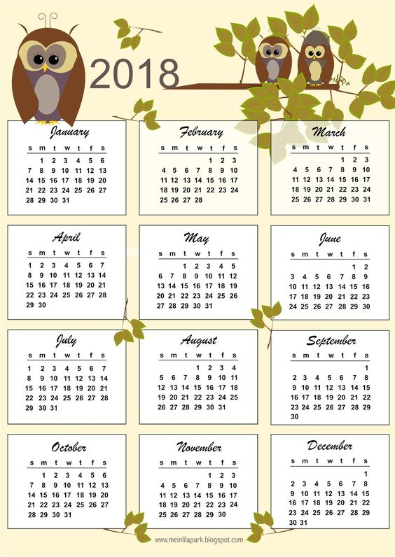 FREE printable 2018 calendar | one page | bulletin cards
