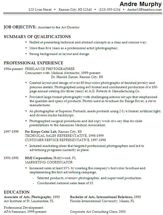 Film Production Assistant Resume Template - http\/\/www - professional photographer resume
