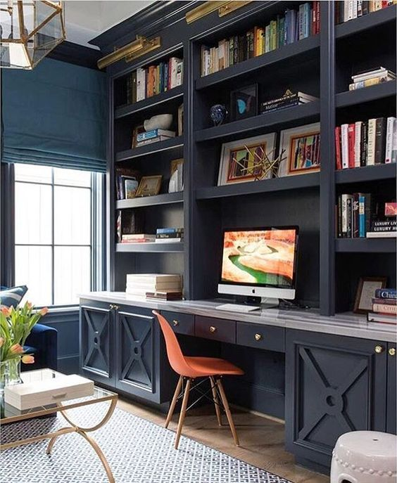 Trend Alert Home Office Navy Built Ins Real Study Makeover
