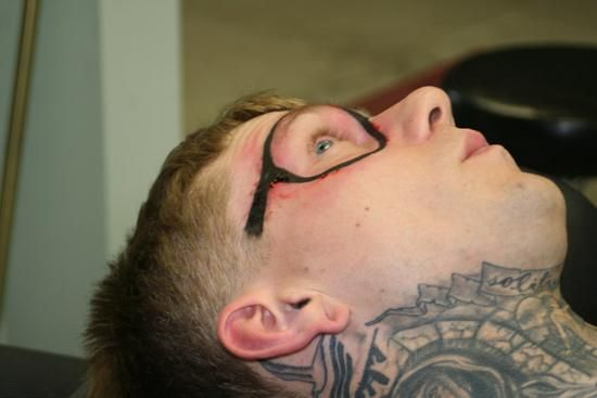 Old Wrinkly People with Tattoos | Smile: Dude Gets Permanent Eyeglasses Tattoo