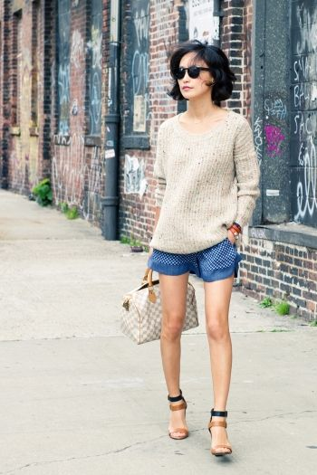 with silk shorts & chunky strap heels