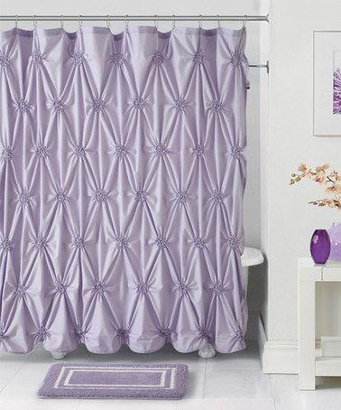 Shower Curtains bathroom shower curtains and rugs : Victoria Classics Lavender Fiona Shower Curtain, Hooks & Bath Rug ...