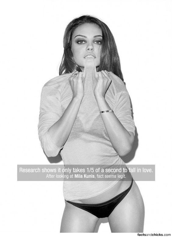 Solo toma 1,5 segs enamorarse. Despues de ver a Mila Kunis creo que es totalmente cierto.