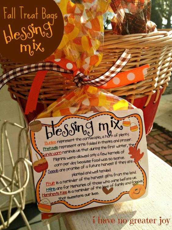Blessing Mix.  Make ahead with the kids and talk about each item's meaning.  Snacks Thanksgiving Day.