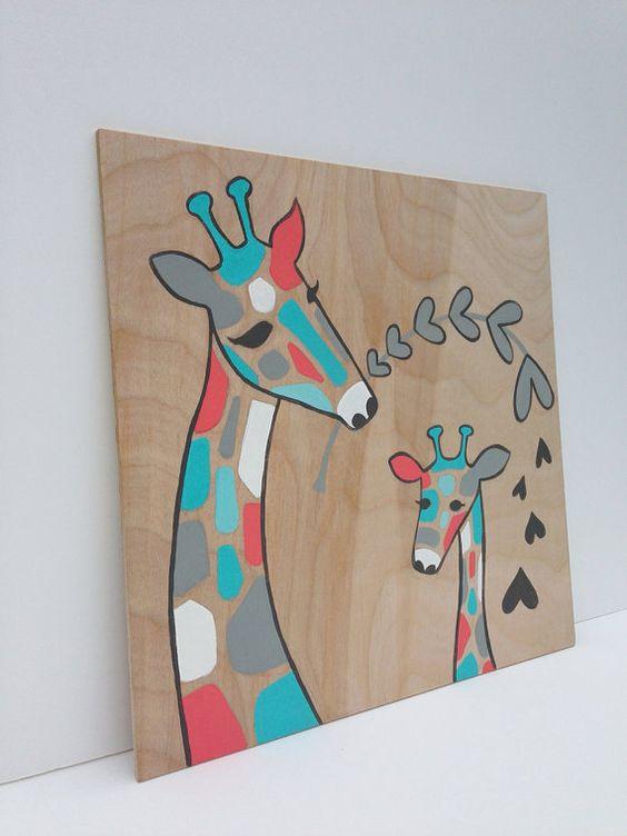 Hand painted Aqua and Coral Giraffe Nursery Art by SweetBananasArt, $40.00