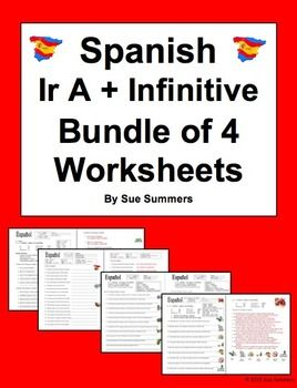 Worksheets Ir A Infinitive Worksheet spanish new years and summer on pinterest ir a infinitive bundle of 4 worksheets by sue summers vocabulary includes spanish