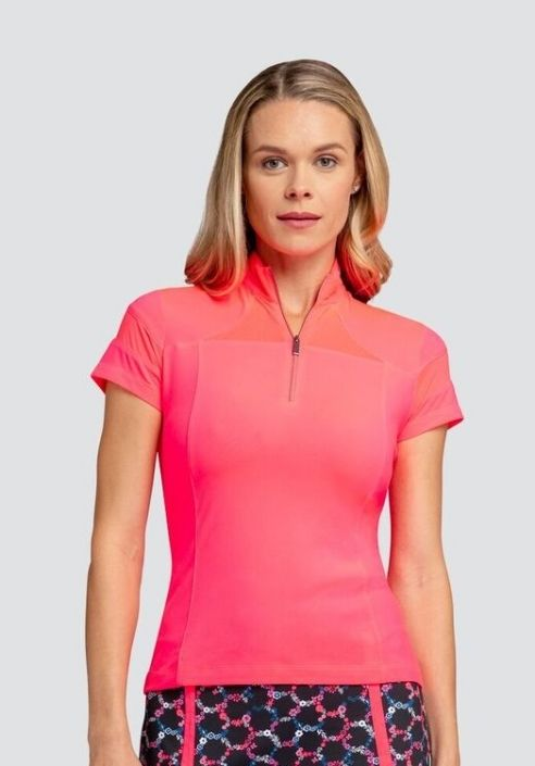 Clearance Tail Ladies Caylee Short Sleeve Golf Tops Royal Blooms Honeysuckle Golf Outfits Women Golf Outfit Tennis Clothes