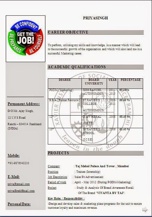 internship resume template Download Free Excellent CV \/ Resume - latest resume format download