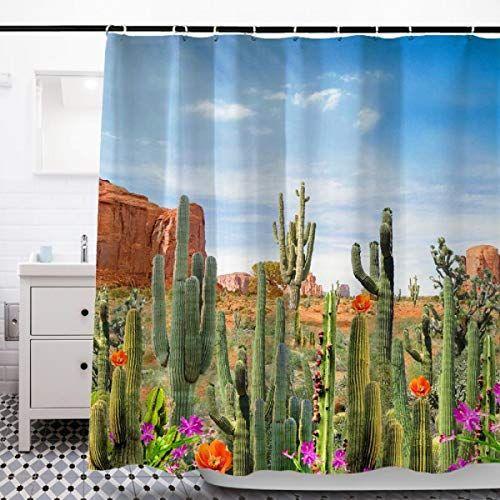 Wah Chun Creative Pattern Cactus Shower Curtain In 2020 Cactus