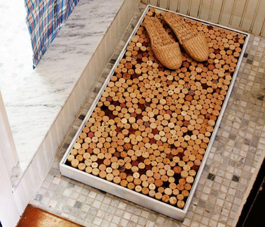 DIY recycled wine cork shower mat