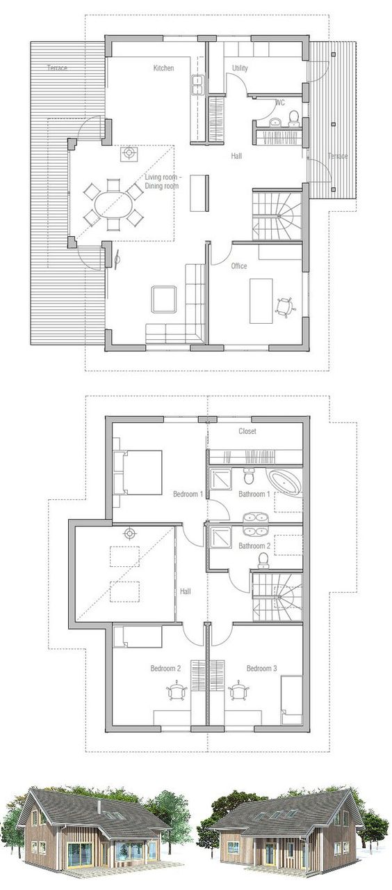 Small house plan with affordable building budget three for Small affordable house plans