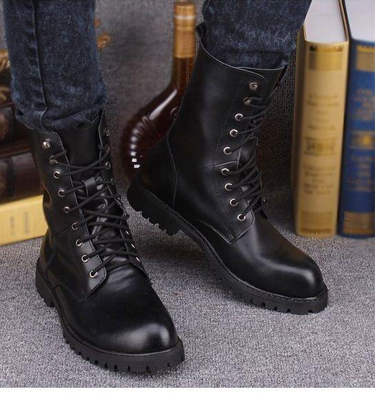 New Handmade Men Military Style Boots, Men Combat Boots, Men