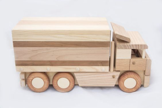 antique wood toy trucks wooden toy truck with box trailer by 2cheekymonkeysandme on etsy