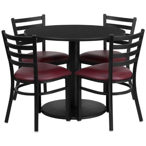 Flash Furniture 36 Round Black Laminate Table Set With 4 Ladder