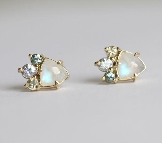 Gold Moonstone Earrings, Cluster Earrings, Cluster Studs, Moonstone Stud Earrings, Multistone Earrings, Gold Moonstone Earrings by MinimalVS on Etsy https://www.etsy.com/listing/466550334/gold-moonstone-earrings-cluster-earrings