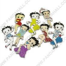 Alloy Enamel Pendants, Pretty Girl, Platinum, Mixed Color, about 40~50mm long, 17~24mm wide, 1.5~2mm thick, hole: 2mm