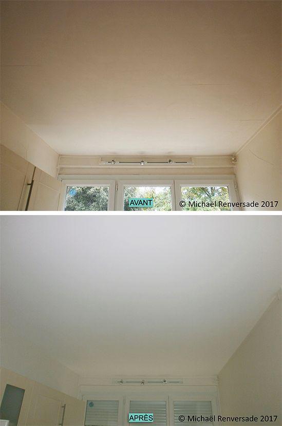 Présence de microfissures sur tout le plafond Pose de voile de - peinture pour plafond fissure