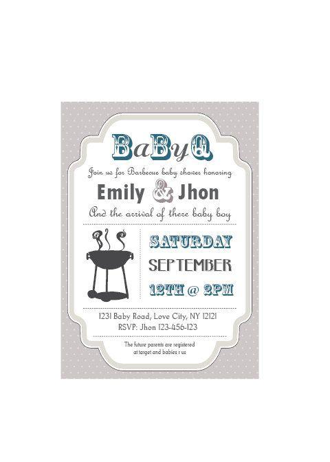 baby-q baby shower bbq invitation couples - boy via etsy, Baby shower invitations