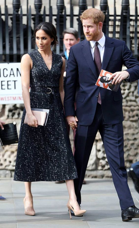 23 April 2018 - Harry and a Meghan attend a memorial service at St Martin-in-the-Fields Church in London - dress by Hugo Boss, shoes by Manolo Blahnik, clutch by Wilbur & Gussie