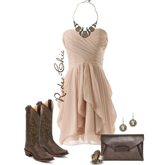 """""""Cream & Cocoa"""" by rodeo-chic on Polyvore, Cowboy Boots by @justinboots boots at @bootbarn. Strapless dress, Country, Western, Wedding"""