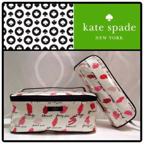 KATE♠️LIPSTICK SMUDGE COSMETIC 2-PC CASE NWT-large: this roomy cosmetic case houses not only your bronzers and blushes, but an entire extra make up clutch, too. Keep it tucked inside to stow any loose bits & bobs or take it out and toss it in your tote for daily touchups. Pricing is firm unless purchased in bundle.... (Brush, flat iron, Bebe glass case and all other accessories not included)...PRICE IS FIRM UNLESS BUNDLED kate spade Accessories