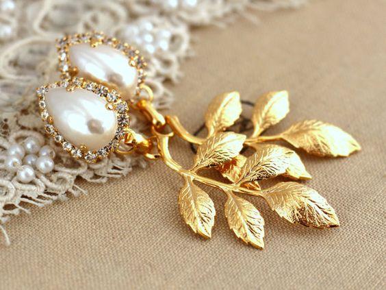 Orecchini da sposa orecchini di perla oro swarovski lampadario Vintage stile sposa, spose orecchini - orecchini di strass placcato oro 18 k